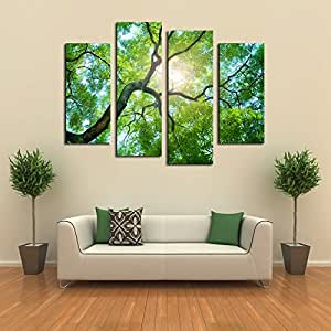 4 Panels No Frame Green Tree Painting Canvas Wall Art Picture Home Decoration