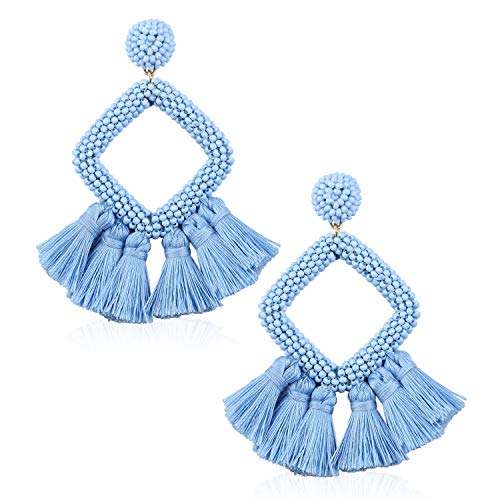 Tassel Bead Statement Earrings for Women Girls Handmade Bohemian Beaded Hoop square Thread Fringe Dangle Trendy Vacation Studs Ear Jewelry Accessory Present for Lover with Gushion Gift Box GUE137 Blue - Jewelry Womens Accessories