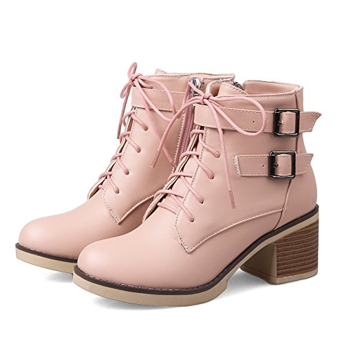 AmoonyFashion Womens Soft Material Round Closed Toe Solid Low-top Kitten Heels Boots Pink 7pMj4x