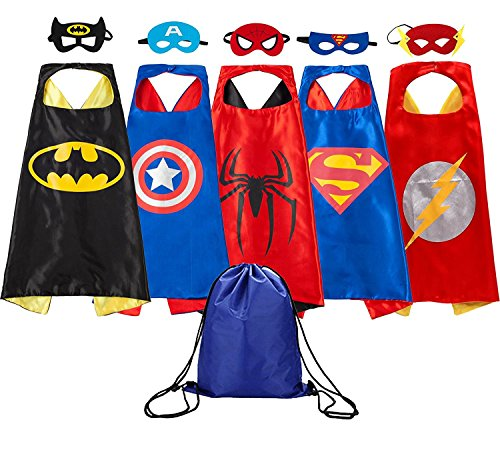 Set of 5 Super Hero Cape and Mask Costume Sets $17.99 **Only $3.60 Each**