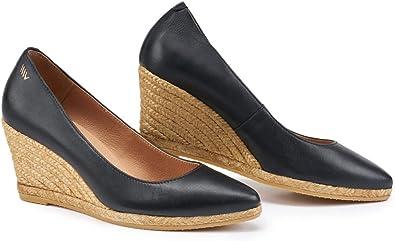 VISCATA Hecho a Mano en España Rosas Cuero Estilo Elegante 7.0 cm Zapatos de Tacón Alpargatas: Amazon.es: Zapatos y complementos