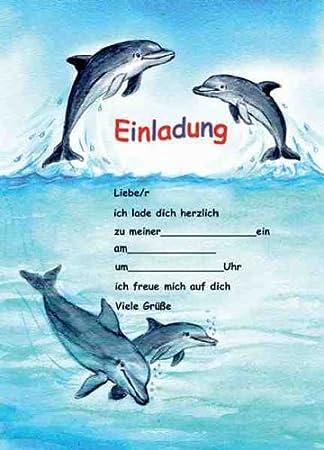 Delfine Delphine Einladungen Geburtstag Kindergeburtstags Einladungen  12er Set