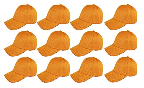 ( Pack of 12 ) Classic Premium Baseball Cap Adjustable Velcro Plain Hat Profile For Unisex Men Women ( Structured ) (GOLD)