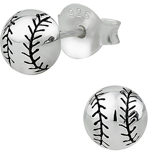 Sterling Silver Baseball Post Earrings - 4