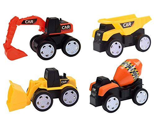 Plastic Beach Toys (LEHII Construction Trucks Kids Boys Girls - 4 Pack Toy Construction Vehicle Dump Truck Beach Toy Play Set Boys, Construction Party Supplies Cake Topper Best Toy 3 4 5+ Year Old (Color May Vary))