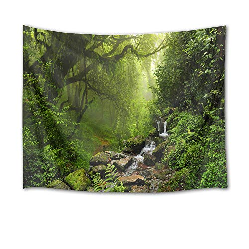 LB Jungle Tapestry River Trees and Stones in Forest Wall Hanging Green Leaves Tapestries for Bedroom Living Room Dorm Party Wall Decor,80Wx60H inches ()