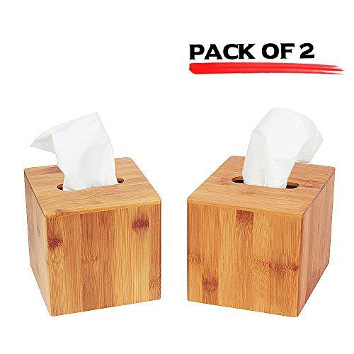 (JackCubeDesign Bamboo Square Tissue Box Cover Holder Case Kleenex Cover Holder Box Napkin Holder Organizer Stand(Set of 2, 5.67 x 5.67 x 5.67inches )-MK273AA)
