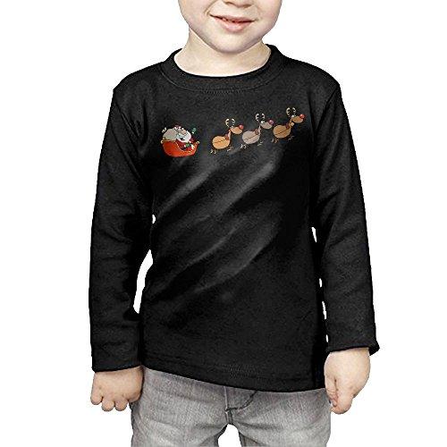 Santas Sleigh And Reindeer Novelty Toddler Long Sleeve Shirt -gift For Kids Black 5-6 Toddler