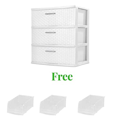 2 Pack 3 Drawer Storage Organizer Sterilite Weave Cabinet Box Container Drawers