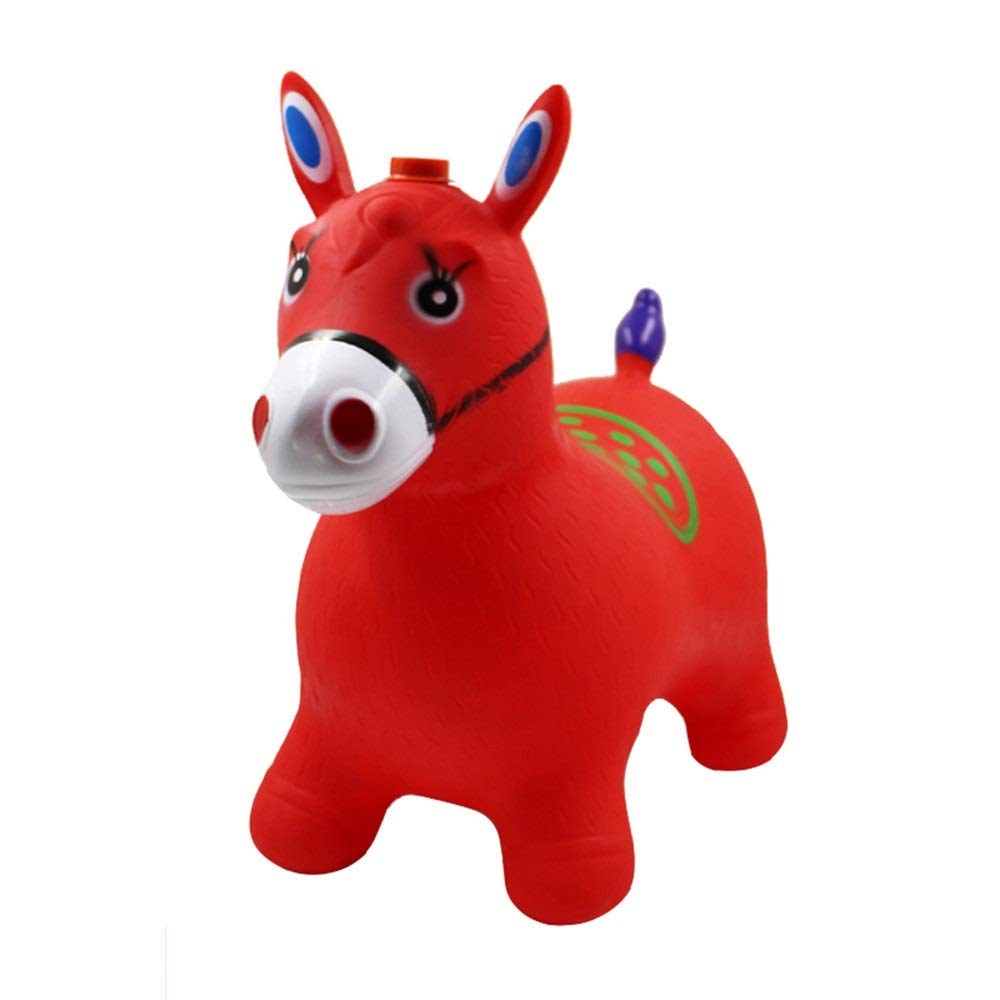 Xyanzi kids toys Inflatable Bouncer Seat, Jumping Horse Blue Horse Hopper Pump Included Space Hopper, Ride-on Bouncy Animal Hopper, Pink/Red (Color : Red)
