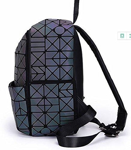 Pack Backpack Geometric Lattice Girl Teenager Bag School Plaid Iridescent Rainbow Magibag Rucksack 1qgaSxSw