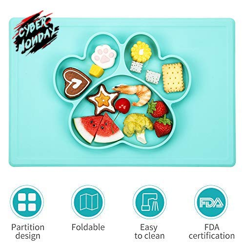 Baby Placemat - Silicone Suction Placemat Feeding Placemat, Food-Grade Material, Food Feeding Divided Mat for Kids and Toddlers