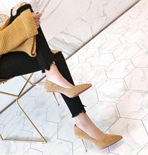 Spring Fine Heels Work Yellow Elegant Lady Leisure Suede Shoes MDRW 9Cm Fashion All High Work 35 Meters Occupation Point Match With 68nxPqww