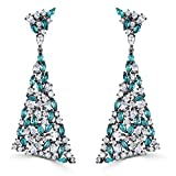 Black Rhodium Sterling Silver Cubic Zirconia Dangle Triangle Earrings