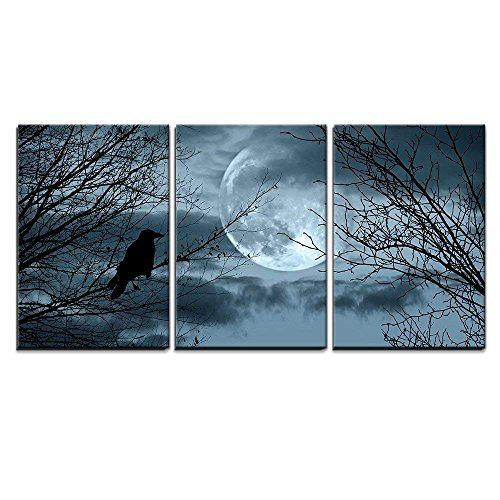 wall26 - Full Moon Halloween Background - Canvas Art Wall Decor-16 x24 x3 Panels]()
