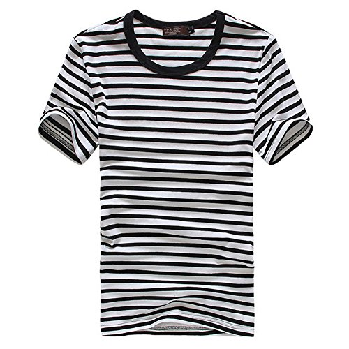 [JF-Sunshine Mens Striped Cotton Short Sleeve T-shirts, Black/ Blue/ Red/ Green (XXL, Black)] (Pugsley Addams Costume)
