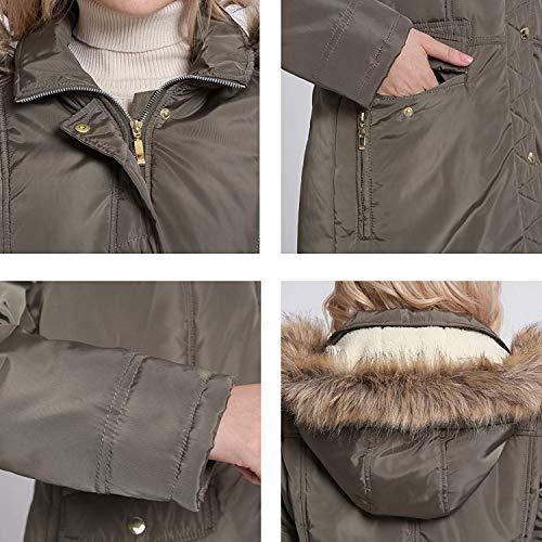 Invernali Moda Outerwear Di Lunga Trapuntata Cerniera Con Coat Giacca Coulisse Grigio Abbigliamento Manica Donna Tasche Pulsante Cappuccio Elegante Laterali Scuro vF1I44q
