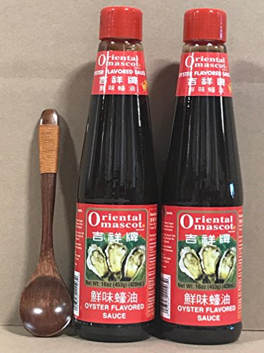 KC Commerce Oriental Mascot Premium Oyster Sauce 16oz Pack of 2 With FREE Wodden Spoon (NO MSG)