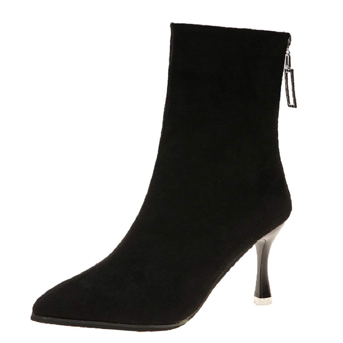 Womens Side Zipper Suede High Heel Ankle Booties Pointed Toe Thin Heels Short Boots Shoes for Women