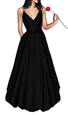 Leader of the Beauty Womens Long Formal Spaghetti Straps Prom Dresses Evening Gowns With Pockets Apple