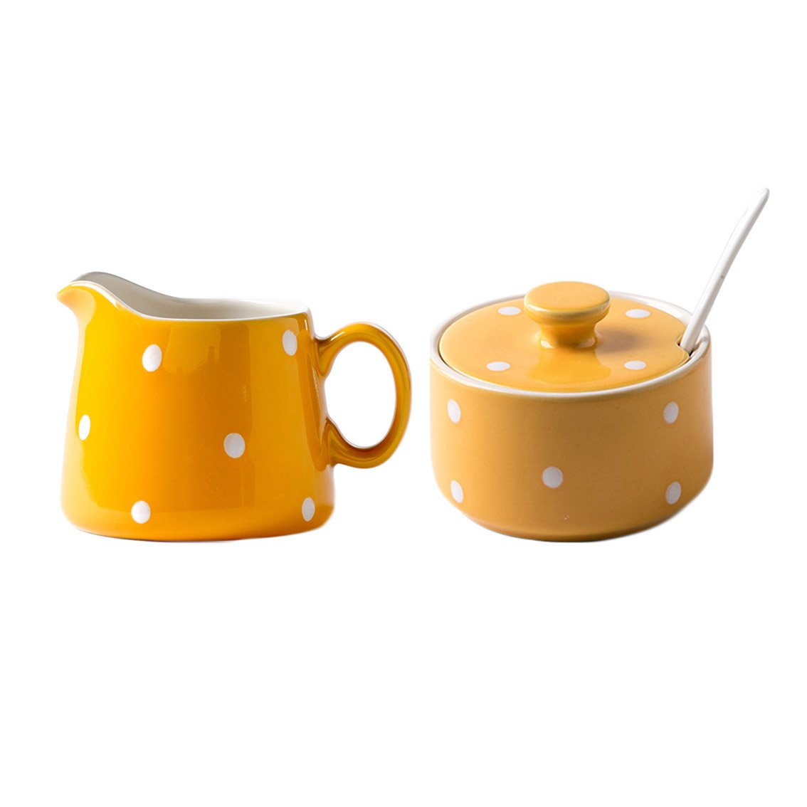 CHOOLD Chic Polka Dot Ceramic Sugar and Creamer Set with Spoon Creamer Serving Set for Coffee and Tea(Pink/Blue/Yellow)