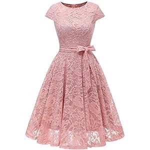 751fc3f6cf9302 MUADRESS 6008 Short Bridesmaid Dresses with Cap-Sleeve Chic Lace Formal  Dresses M Blush