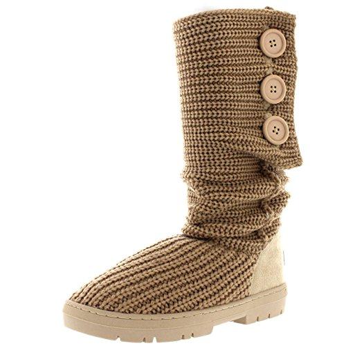 Knit Boots (Womens Snow Boot Nylon Short Winter Snow Rain Warm Waterproof Boots - 8 - BEK39 EA0347)