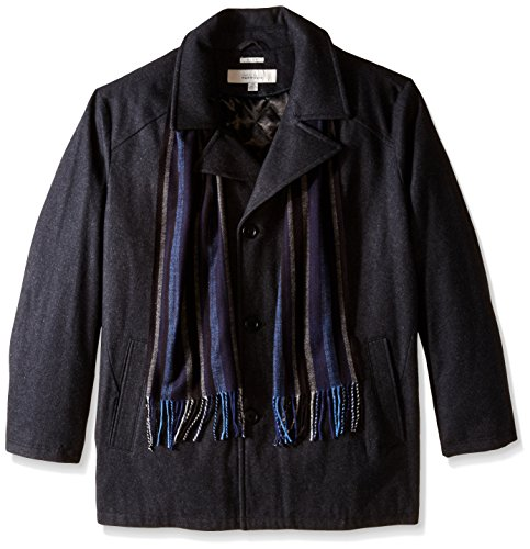 Perry Ellis Men's Big 30 1/2 inch Wool Button Front with Scarf, Charcoal, (Big Button Wool Coat)