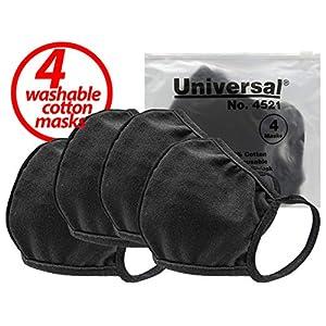 Universal 4521 Face Masks – 100% Cotton, Washable, Reusable Cloth Masks – Protection from Dust, Pollen, Pet Dander, Other Airborne Irritants (4 Masks)