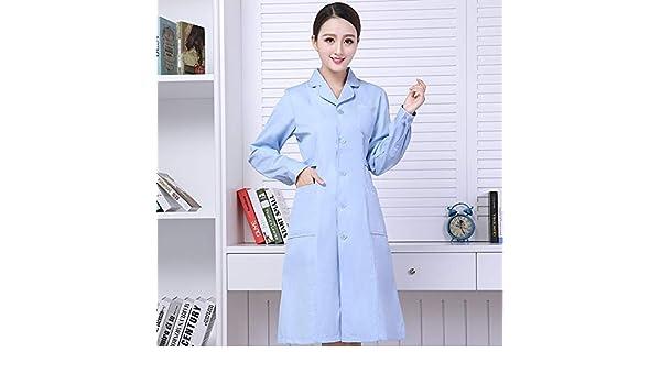 OPPP Ropa médica Enfermera Que Lleva el Cuerpo de reparación Azul Cuello Redondo Cuello pasantía médico Personalizado Bata Blanca Manga Larga Dental Mono: ...