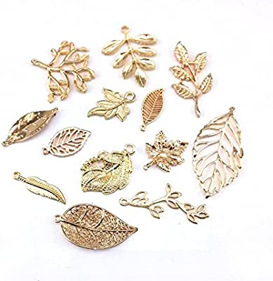 65237ebfb14 Amazon.com  yueton 13pcs Different Style Gold Plated Metal Leaf Shape Charms  Pendant DIY Craft Jewelry Making Accessory  Arts