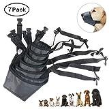 Idepet 1SET Dog Muzzles Suit,7PCS Adjustable Dog Mouth Cover Anti-Biting Barking Muzzles for Small Medium Large Extra Dog (Pack of 7)