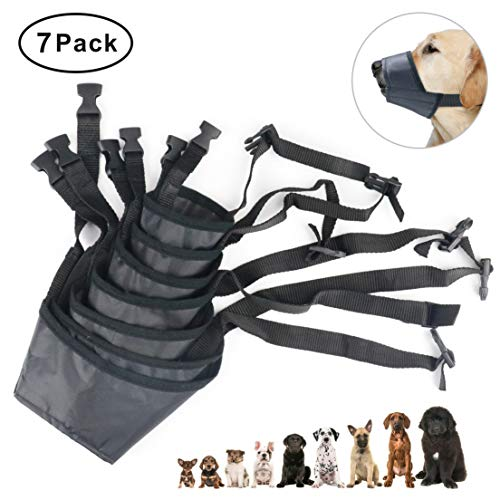 Idepet 1SET Dog Muzzles Suit,7PCS Adjustable Dog Mouth Cover Anti-Biting Barking Muzzles for Small Medium Large Extra Dog (Pack of 7) by Idepet