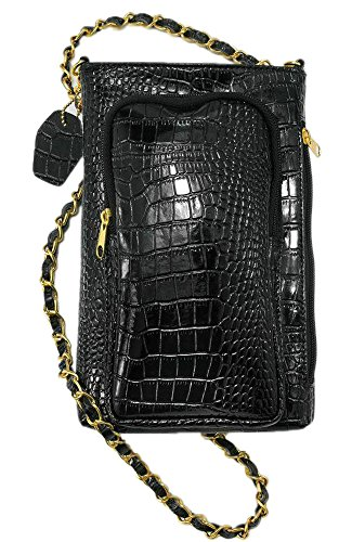 (Leather Cross Body Purse With Cell Phone Charger - Caviar Black Genuine Leather Embossed Croc - Madison & Mulholland)