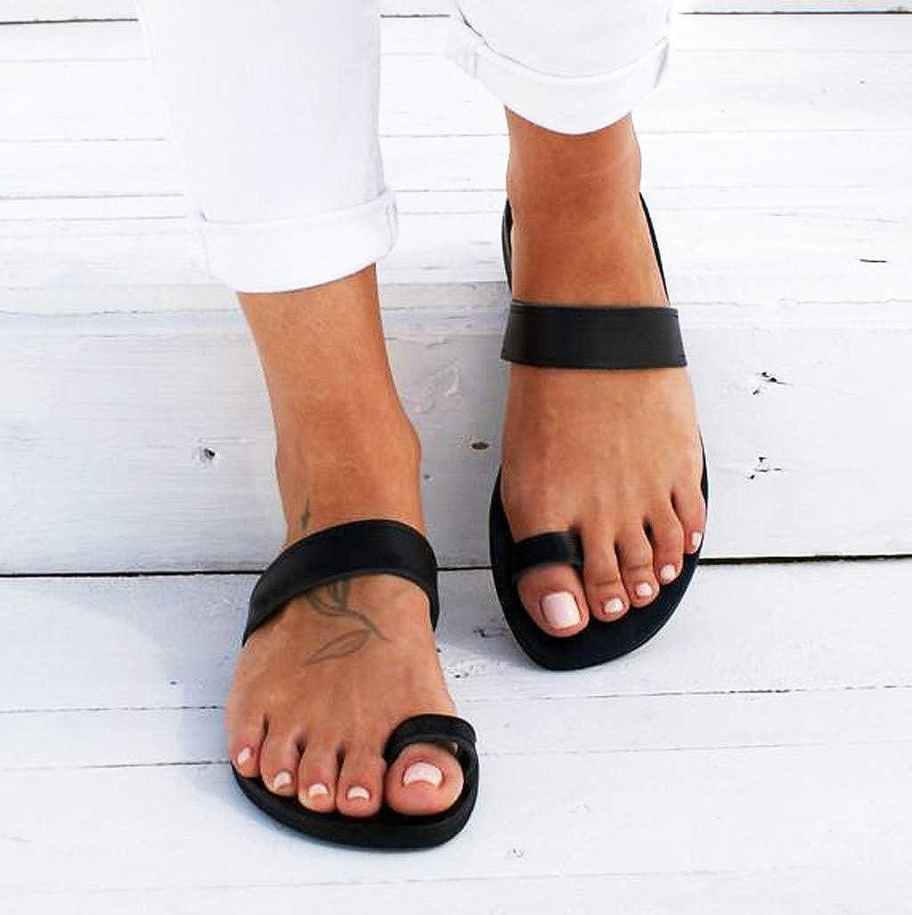 TOYFUNNY Womens Summer Bohemia National Style Weaving Flat Heel Strap Slippers Striped Flat Beach Sandals Roman Shoes