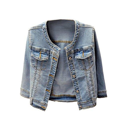 Denim Jackets Trendy XU Washed Three Quarter Sleeve Stretch Collarless Short Jeans Coat (L)