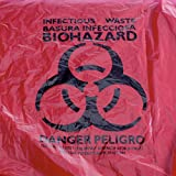 MediChoice Can Liner, Imprinted Infectious Waste, Plastic, 8-10 Gallon, 3 Mil, 24 Inch x 30 Inch, Red (Case of 200)