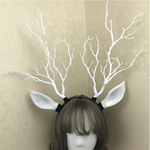 Reindeer Elk Antlers & Tree Branch Hair band Headdress Forest Angel Fairy Photography Christmas Carnival Halloween Fancy dress party Decor (White)