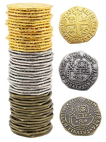 Pirate Metal Replica Metal Coins 48 Large 32mm Kraken Buccaneer Doubloon Loot From Well Pack Box