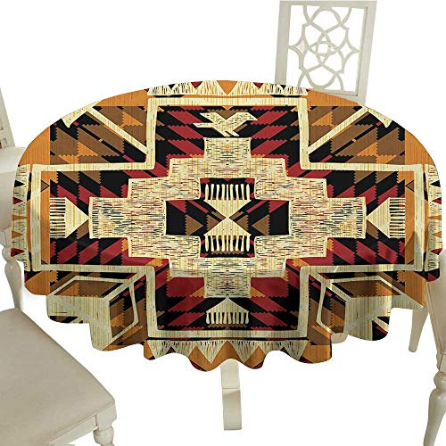 Round Tablecloth Plastic Arrow,Native American Inspired Retro Aztec Pattern Mod Graphic Design Boho Chic Art,Red Orange Yellow D50,for Party