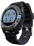 GPS Smart Watch For Men Women Altimeter Barometer Heart Rate Fitness Sport Watches Black