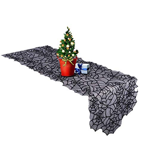 """Lufebuy Halloween 20""""×80"""" Polyester Lace Spiderweb Table Runner, Mysterious Cobweb Black Tablecover for Halloween Dinner Parties Table Decorations and Scary Movie Nights"""