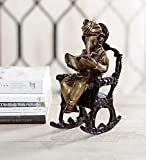 eCraftIndia Lord Ganesha on Rocking Chair Antique Brass Showpiece (8 cm x 8 cm x 17, Brown and Black)