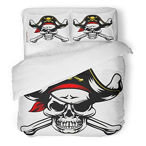 Emvency 3 Piece Duvet Cover Set Brushed Microfiber Fabric Breathable Skull and Crossbones Dressed in Pirate Costume Hat Eye Patch Bedding Set with 2 Pillow Covers King Size -