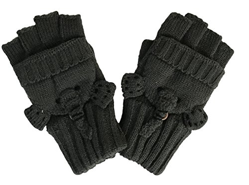 Boys' and Girls' fall & Winter Solid Knitted Half Finger Mittens ,Typing & Riding Gloves -Dark Gray Elephant- Size M