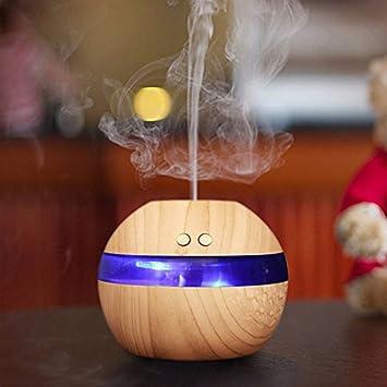 Diffusore di oli essenziali spa umidificatore tondo a forma di fungo di legno casa diffusore di nebbia fredda per aromi silenziosi con spegnimento automatico per la cameretta colore legno chiaro
