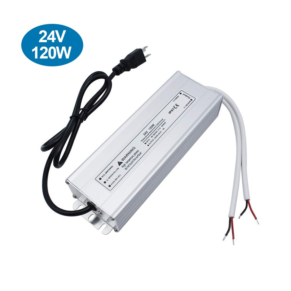 inShareplus LED Power Supply, 24V 120W IP67 Waterproof Outdoor Driver, AC 90-265V to DC 24V 5A Low Voltage Transformer, Adapter with 3-Prong Plug for LED Light, Computer Project, Outdoor Use by inShareplus