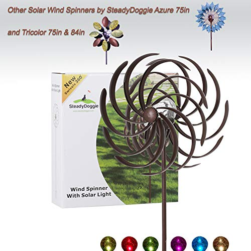 Solar Wind Spinner Improved 360 Degrees Swivel Multi-Color LED Lighting Solar Powered Glass Ball with Kinetic Wind Spinner Vertical Metal Sculpture Stake Construction for Outdoor Yard Lawn & Garden (Outdoor Wind Spinners Metal)