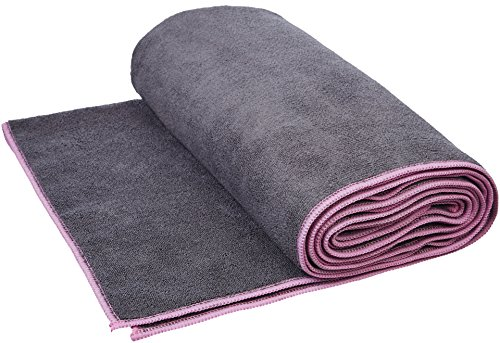 (AmazonBasics Hot Yoga Mat Towel - 72 x 24 Inches, Grey And Pink)