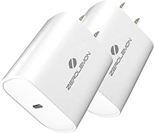 USB C Wall Charger, ZeroLemon 18W Type C PD 3.0 Power Delivery Charger, Fast Charging for iPad Pro, AirPods Pro, iPhone 11 Pro Max/Xs Max, Galaxy Note 10 Plus/Note 10/9, Galaxy S20 Series - 2 Pack